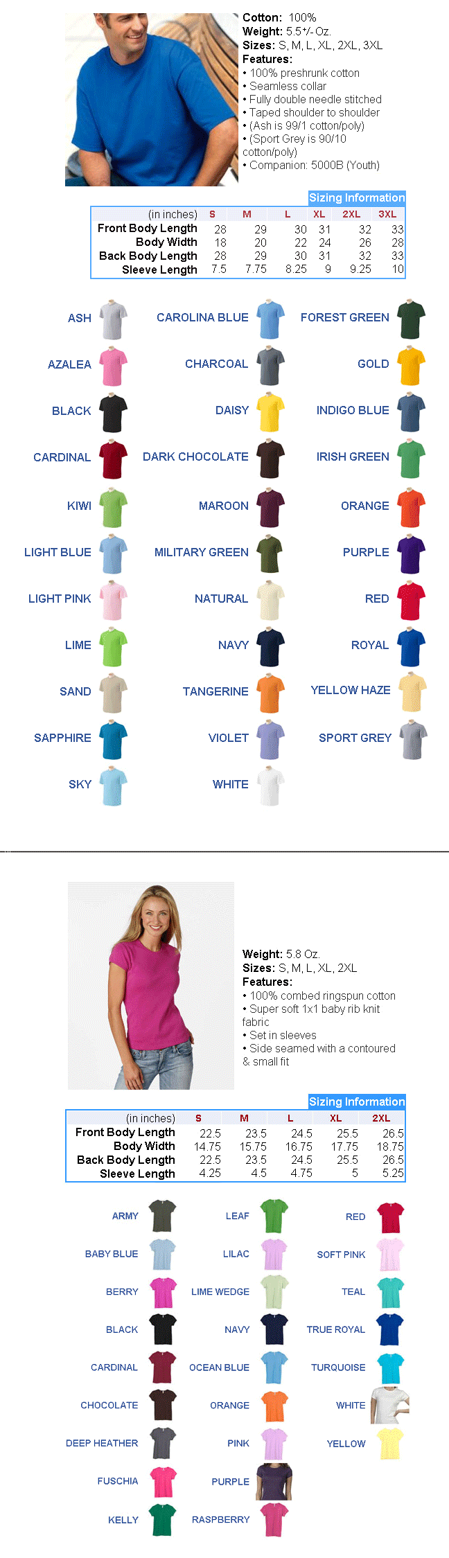Men's Tshirt Size and Colors